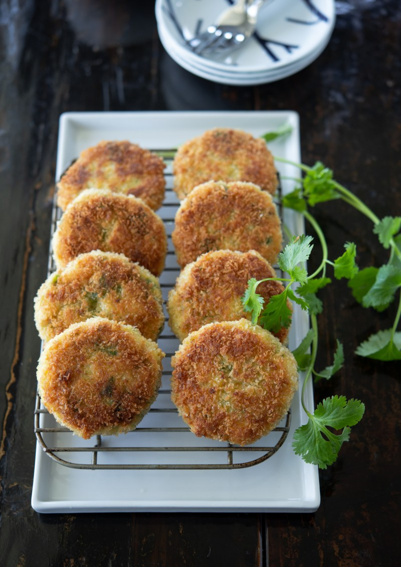 These Thai style crab cakes are pan-fried to golden brown crispy.