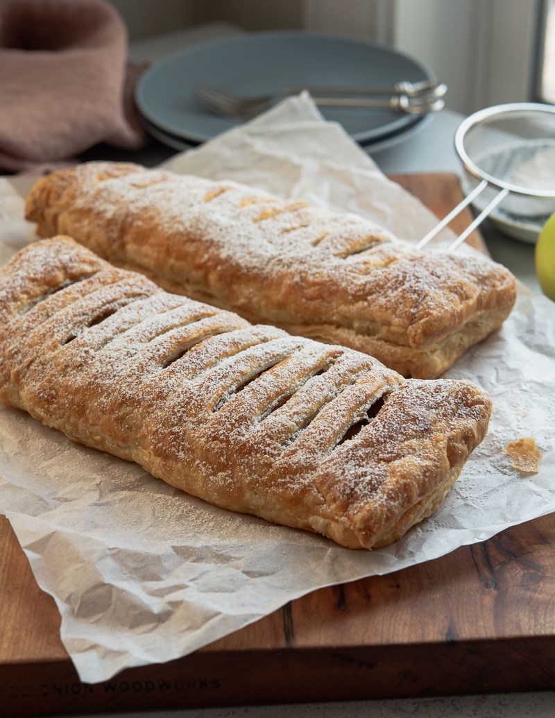 German apple strudel can be easily made with puff pastry