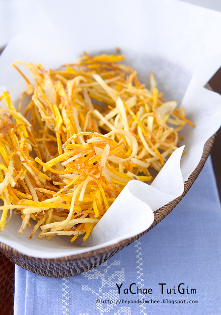 Deep-fried root vegetables are crisp and makes a delicious snack.