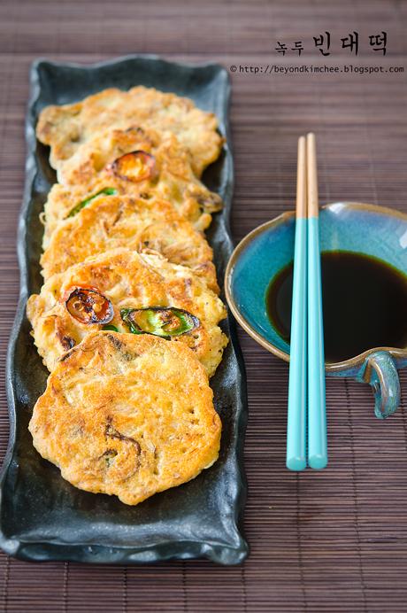 Bindaetteok is Korean mung bean pancakes