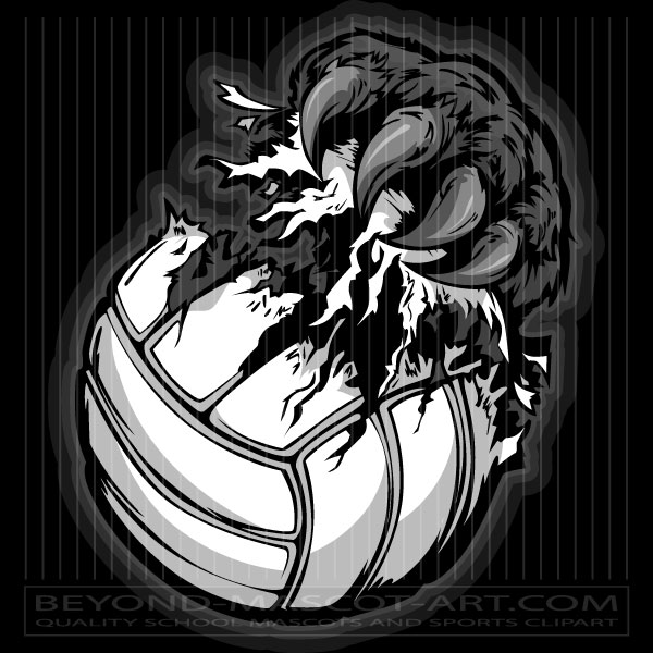 Panther Volleyball Clipart Claw Ripping Ball