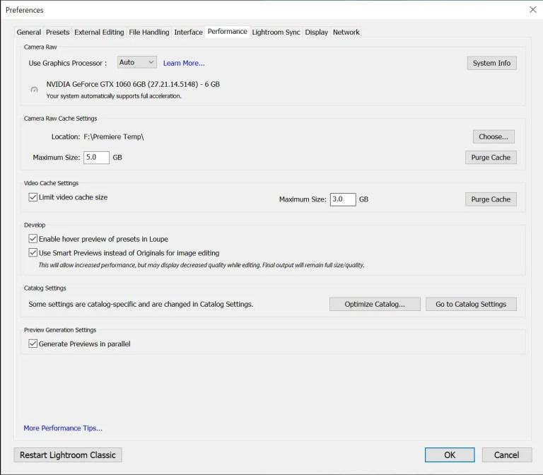 Adobe Photoshop Lightroom Classic Preferences > Performance