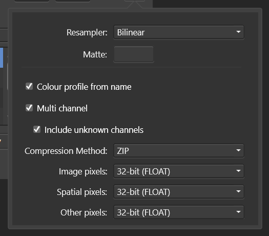 Save as EXR options in New Batch Job - Affinity Photo