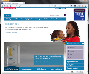 Homepage from MyHIV website