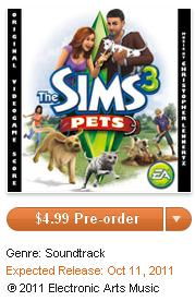 The Price of The Sims 3: Pets Score/Soundtrack