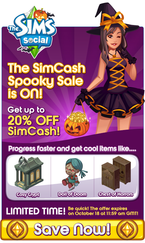 20% off SimCash in The Sims Social!