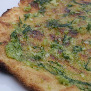 AIP Paleo Grilled Yuca Flatbread with Garlic Chive Oil