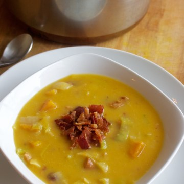 Roasted Butternut Leek Soup with Bacon (AIP, Paleo)