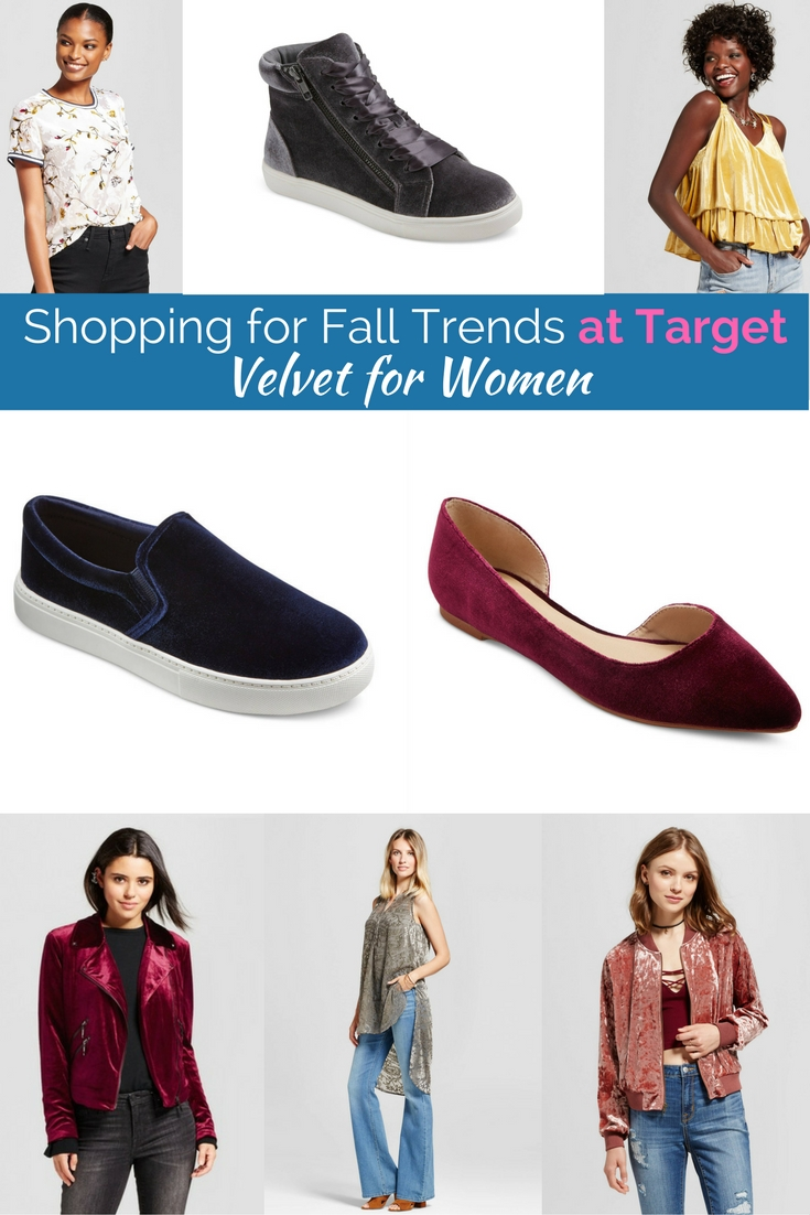 The best 2017 fall fashion trends available at target including velvet, embroidery and military chic.