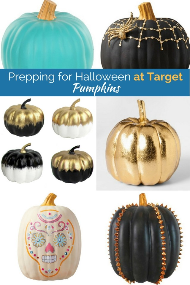 Obsessed with these pumpkin picks from Target! All are less that $10 and can be used year after year! Studded pumpkins, golden pumpkins, teal pumpkins, and black and white pumpkins too!