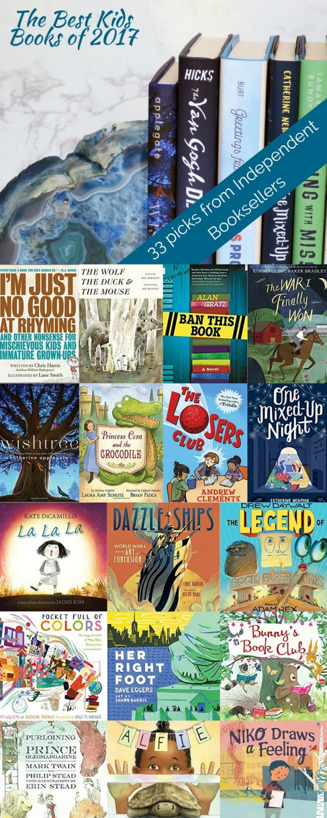 When indie booksellers tell you their favorite books of the year - you listen! These are books chosen, not for their buzz or marketing, but because they are truly excellent children's books. Picture books, early reader and middle grade are all included in this list the best children's books of 2017.