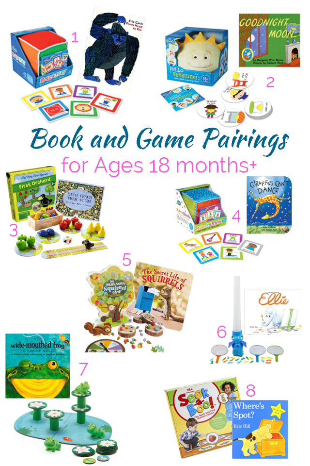 Incredible game and book pairings for even the littlest kids in your life. Games make perfect holiday and birthday presents! Plus there are 30+ games on this list for kids aged 1 to 101!