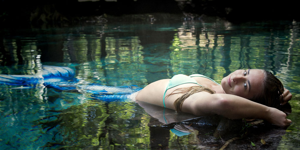 Hawaii Conceptual Portrait mermaid laying in water