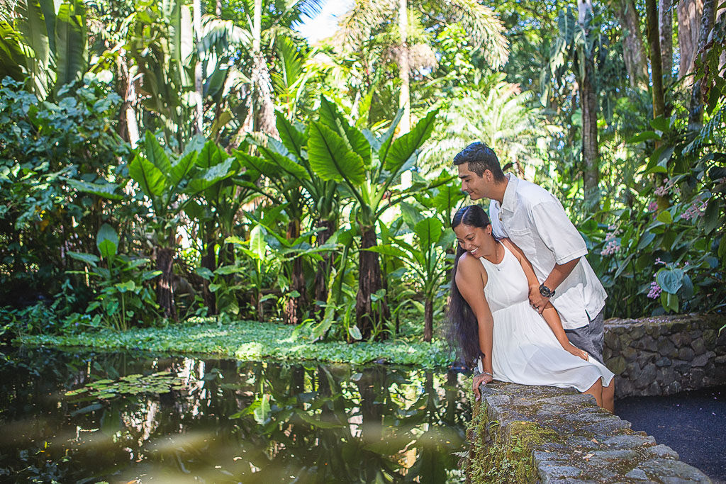 Hawaii Portrait engagement photo couple by pond hawaii botanical tropical garden hilo