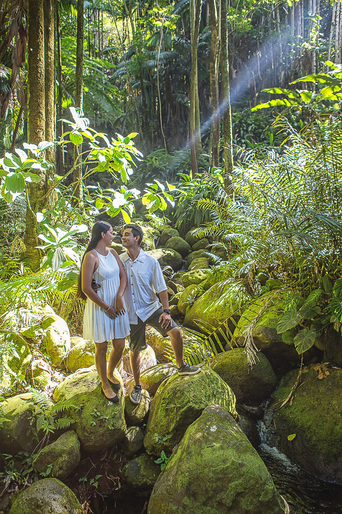 Hawaii Portrait engagement photography couple by waterfall hawaii botanical tropical garden professional photographer