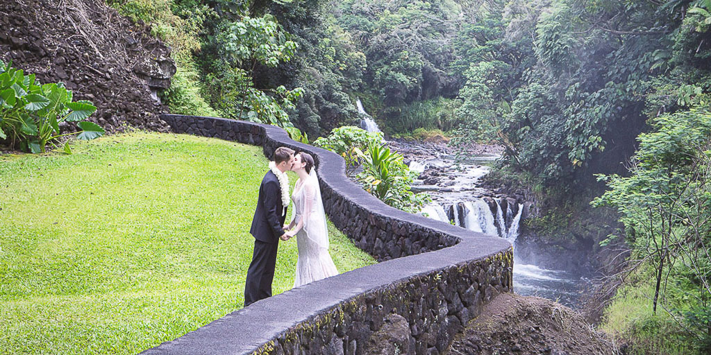 Hawaii professional photographer Falls at Reeds island waterfall elopement wedding photography bride and groom