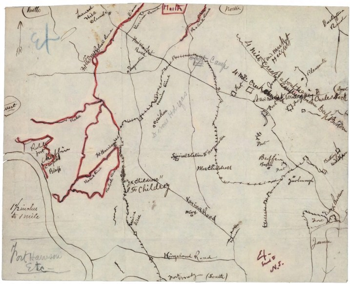 [Map of the Chaffin's Bluff area of Henrico County, Virginia] / [drawn by Normand Smith]. Map showing positions of Union and Confederate armies on September 28, 1864.