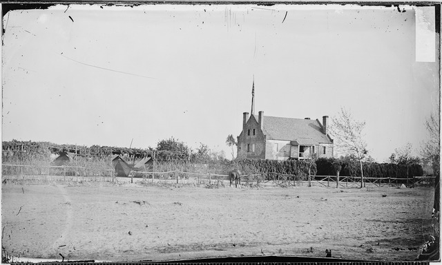 """Globe Tavern, near Petersburg, Va - NARA - 526157"" by Mathew Brady. Licensed under Public domain via Wikimedia Commons - http://commons.wikimedia.org/wiki/File:Globe_Tavern,_near_Petersburg,_Va_-_NARA_-_526157.tif#mediaviewer/File:Globe_Tavern,_near_Petersburg,_Va_-_NARA_-_526157.tif"