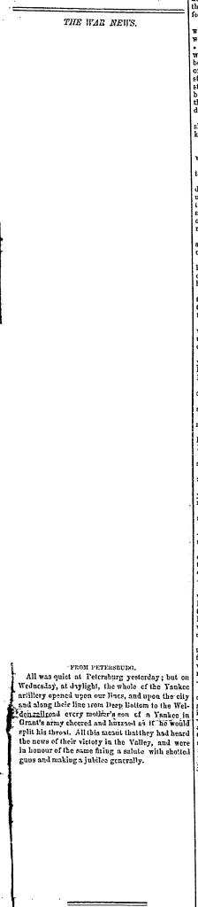 18640923RichmondExaminerP1C1TheWarNews