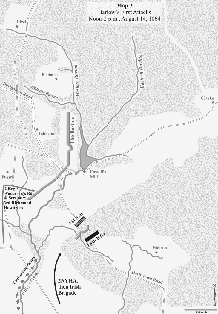 Horn Weldon RR Battles Second Deep Bottom Map 3: Barlow's First Attacks Noon-2 p.m., August 14, 1864
