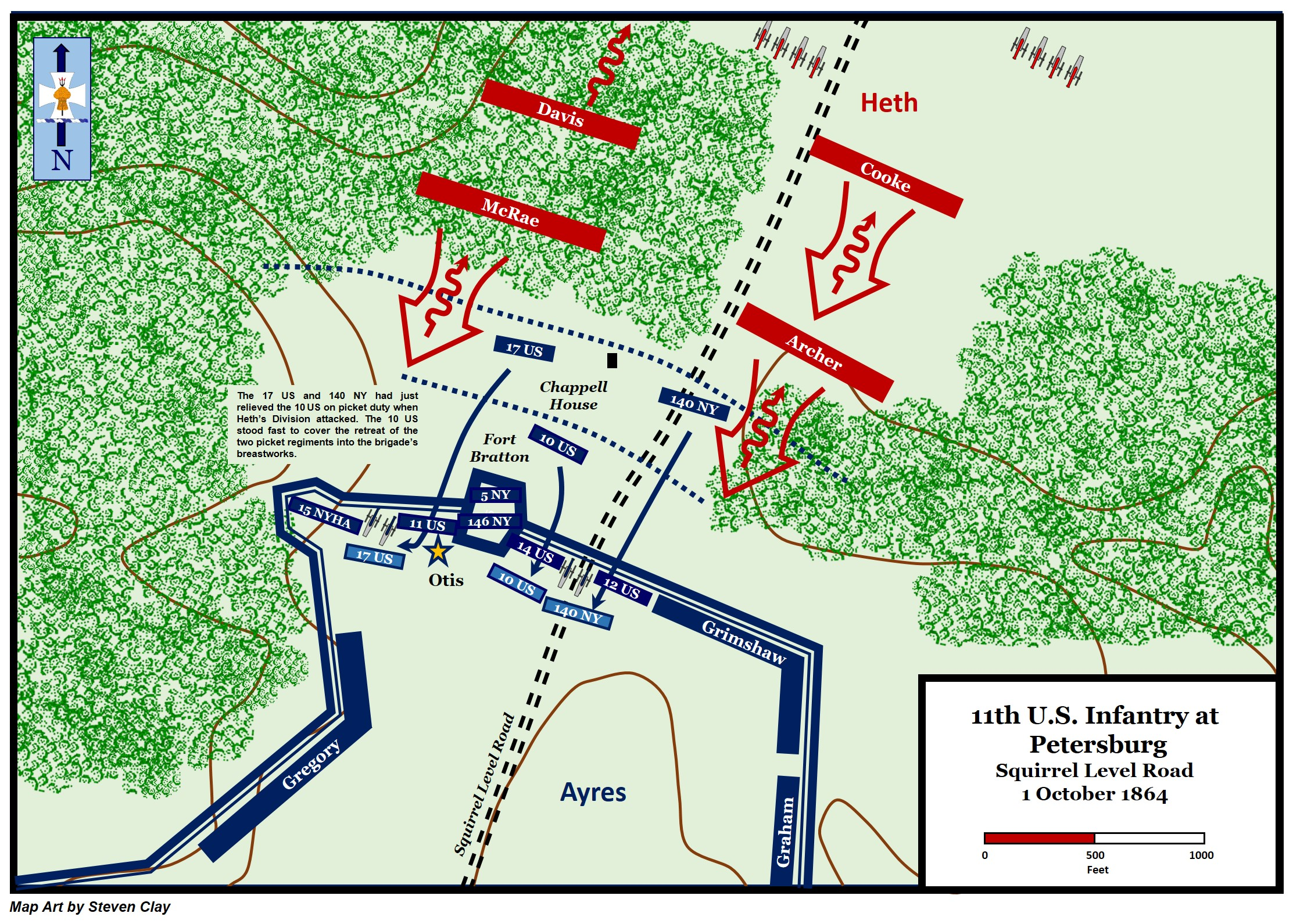 Map Battle Of Squirrel Level Road 1 October 1864 16th Infantry - Us-map-1864