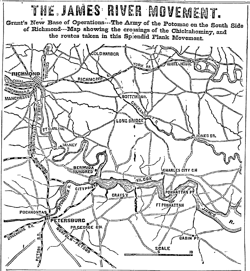 18640616PhiladelphiaInquirerP1C3to5MAPTheJamesRiverMovement