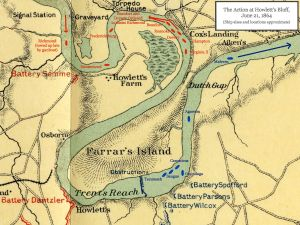 Map of the June 21, 1864 Action at Howlett's Bluff