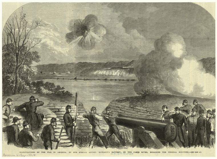 Illustration of Howlett Battery and Trent's Reach in the London Illustrated News