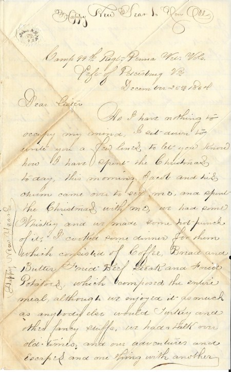 First page of John Mayers' December 25, 1864 letter home from the Siege of Petersburg.