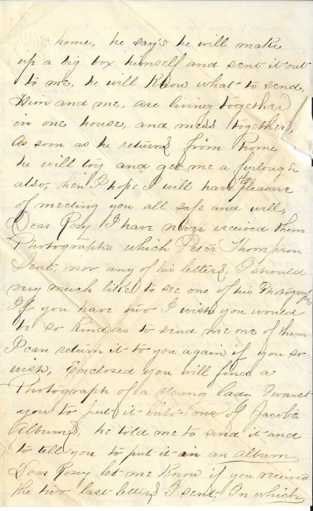 Third page of John Mayers' December 25, 1864 letter home from the Siege of Petersburg.