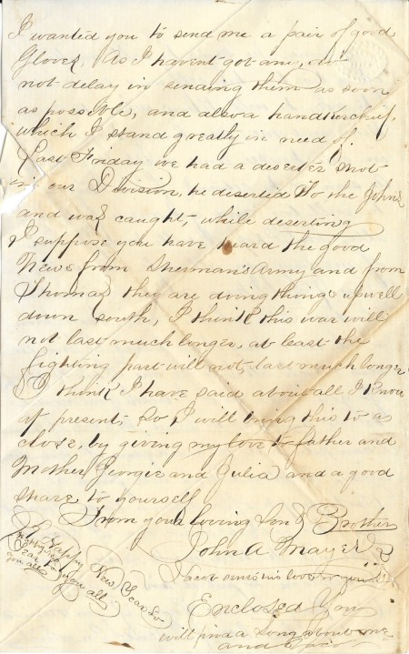 Fourth page of John Mayers' December 25, 1864 letter home from the Siege of Petersburg.