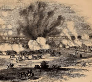 Image of Ninth Corps attack at the Crater, 8/27/64 Frank Leslie's Illustrated.