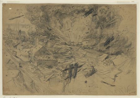 Alfred Waud drawing depicting the explosion at City Point on August 9, 1864 during the Siege of Petersburg.