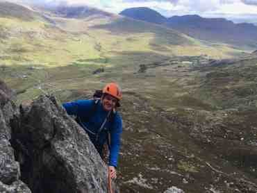 Advanced scrambling on the East face of Tryfan in Snowdonia.