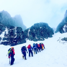 Jagged Globe group heading up towards Number 4 gully on Ben Nevis