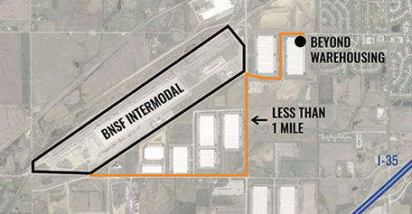 Road from BNSF intermodal facility to Beyond Warehousing