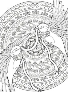 Mindful Bird Coloring Page - Illustration by jl071077
