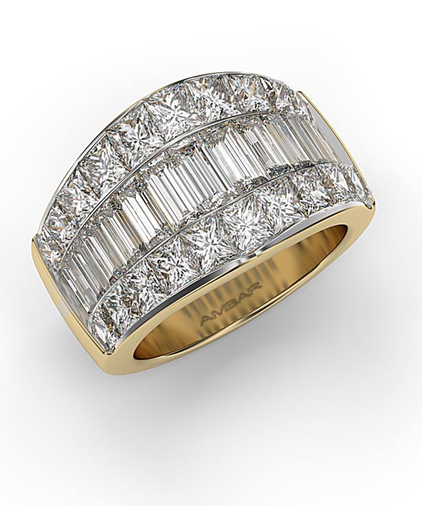 Diamonds band with princess cut and baguettes diamonds