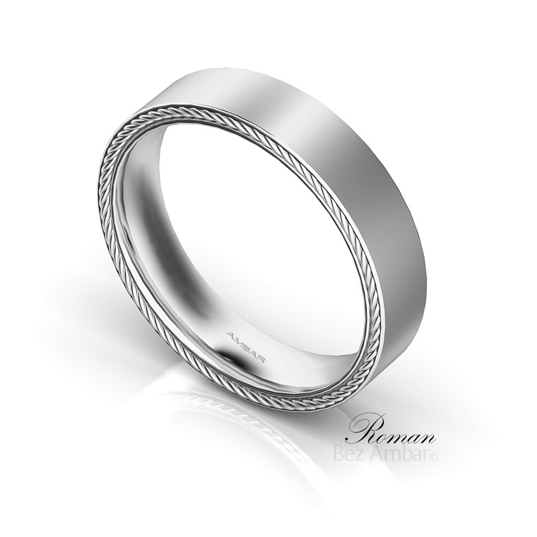 roman simple mens wedding ring white gold