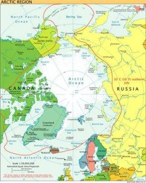 Arktyka - granica określona izotermą 10 C w czerwcu. Grafika - Wikimedia Commons