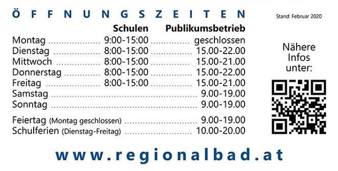 Regionalbad Öffnungszeiten