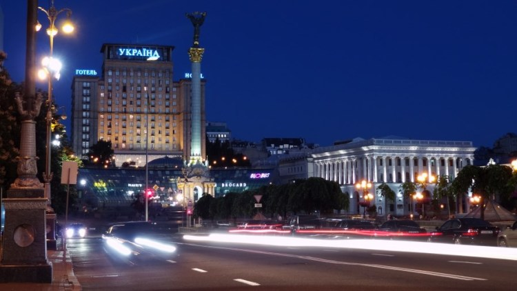 Maidan bij nacht - Bezoek Kiev