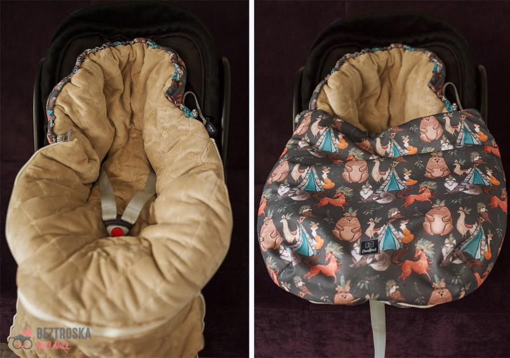 śpiworek coco bird otwory na pasy do fotelika