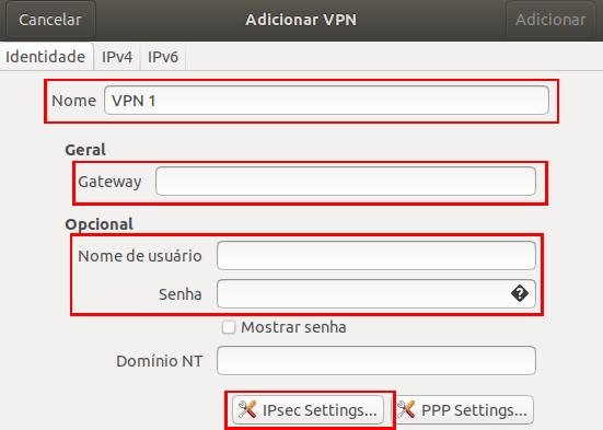 Campos de preencher VPN L2TP/IPsec Ubuntu