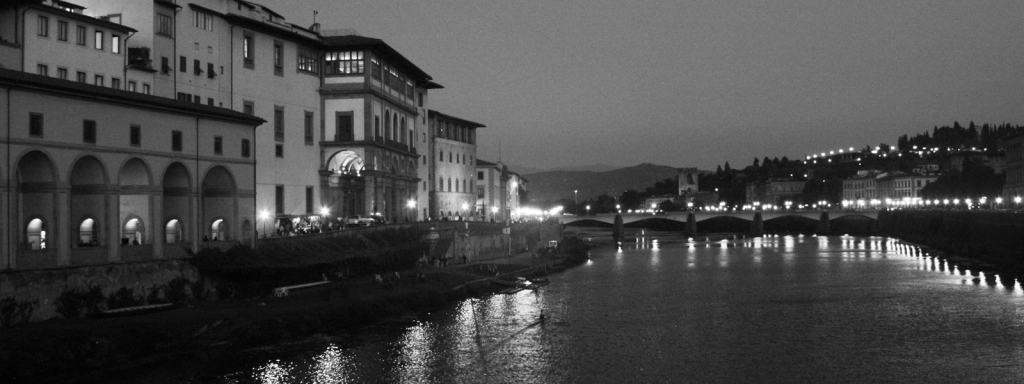 Florence's Arno River at night Black & White