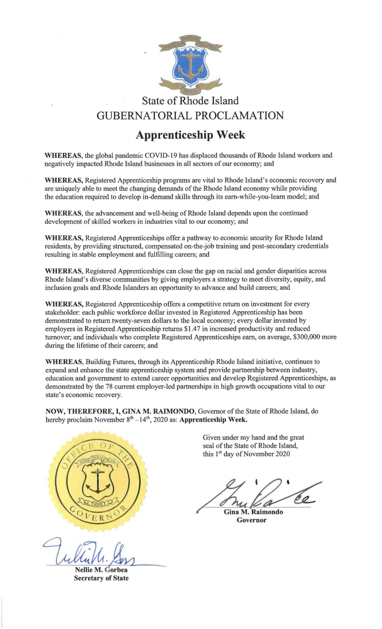 Picture of Gubnatorial Proclamation Declaring National Apprenticeship Week