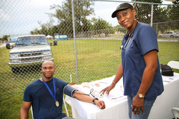 Nurse Judith Scavella in action at medical tent