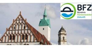 Rathaus Fürstenwalde mit BFZ-Logo