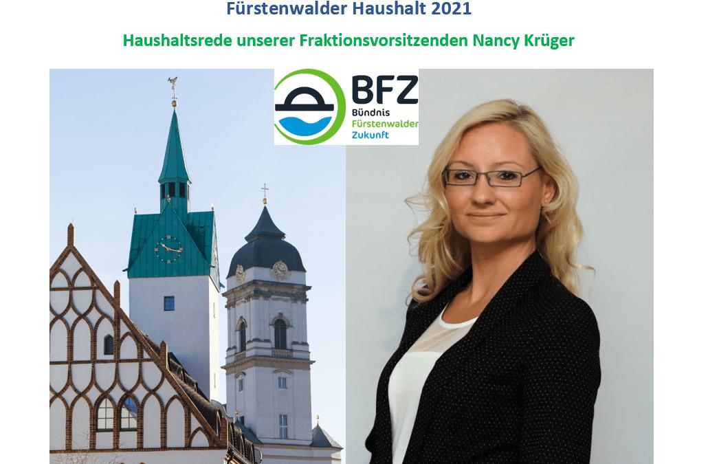 Fürstenwalder Haushalt 2021 – Rede unserer BFZ-Fraktionsvorsitzenden Nancy Krüger