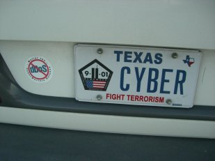 My CYBER license plate in Texas